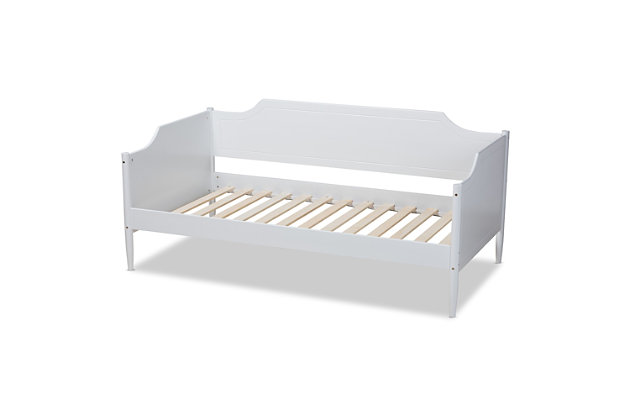 Baxton Studio Alya Classic Traditional Farmhouse White Finished Wood Twin Size Daybed, White, large