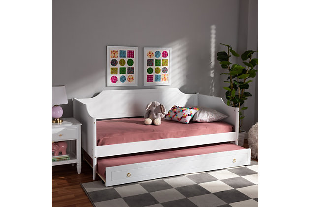 Baxton Studio Alya Classic Traditional Farmhouse White Wood Twin Size Daybed with Roll-Out Trundle Bed, White, large