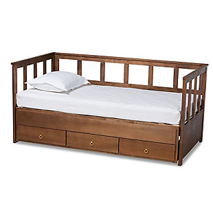 Baxton Studio Kendra Contemporary Walnut Finished Expandable Twin Size to King Size Daybed with Storage Drawers, , large
