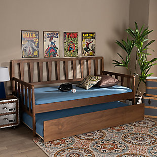 Baxton Studio Midori Transitional Walnut Brown Finished Wood Twin Size Daybed with Roll-Out Trundle Bed, , rollover