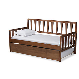 Baxton Studio Midori Transitional Walnut Brown Finished Wood Twin Size Daybed with Roll-Out Trundle Bed, , large