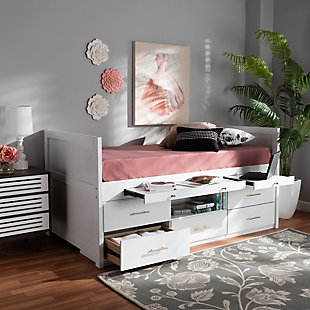 Baxton Studio Mirza Modern and Contemporary White Finished Wood 5-Drawer Twin Size Storage Bed with Pull-Out Desk, , rollover