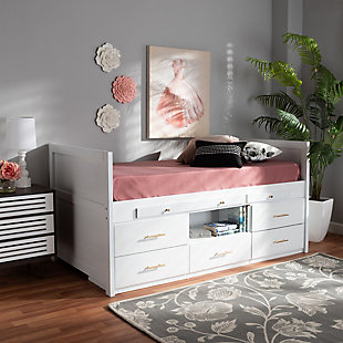 Baxton Studio Mirza Modern and Contemporary White Finished Wood 5-Drawer Twin Size Storage Bed with Pull-Out Desk, , large