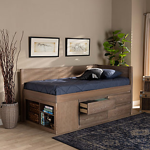 Baxton Studio Levon Modern and Contemporary Antique Oak Finished Wood 4-Drawer Twin Size Storage Bed, , rollover