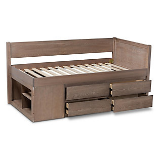 Baxton Studio Levon Modern and Contemporary Antique Oak Finished Wood 4-Drawer Twin Size Storage Bed, , large