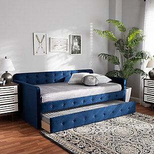 Baxton Studio Jona Transitional Navy Blue Velvet Upholstered and Button Tufted Twin Size Daybed with Trundle, Blue, rollover