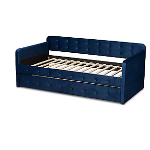 Baxton Studio Jona Transitional Navy Blue Velvet Upholstered and Button Tufted Twin Size Daybed with Trundle, Blue, large