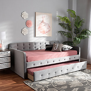 Baxton Studio Jona Transitional Grey Velvet Upholstered and Button Tufted Twin Size Daybed with Trundle, Gray, rollover