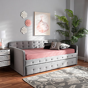 Baxton Studio Jona Transitional Grey Velvet Upholstered and Button Tufted Twin Size Daybed with Trundle, Gray, large