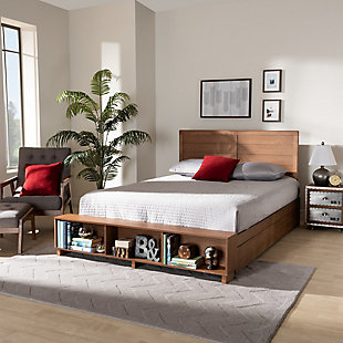 Baxton Studio Alba Transitional Ash Walnut Wood Full Size 4-Drawer Platform Storage Bed with Built-In Shelves, , rollover