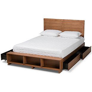 Baxton Studio Alba Transitional Ash Walnut Wood Full Size 4-Drawer Platform Storage Bed with Built-In Shelves, , large