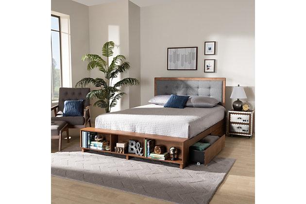 Baxton Studio Cosma Transitional Ash Walnut Finished Wood 4-Drawer Full Size Platform Storage Bed, , large