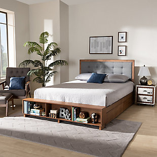 Baxton Studio Cosma Transitional Ash Walnut Finished Wood 4-Drawer Full Size Platform Storage Bed, , rollover