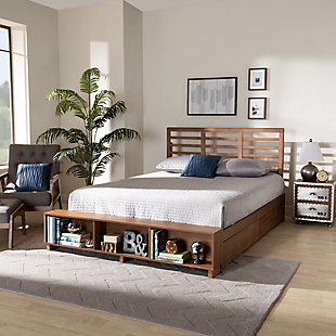 Baxton Studio Milana Modern Transitional Ash Walnut Brown Finished Wood 4-Drawer Full Size Platform Storage Bed, , rollover