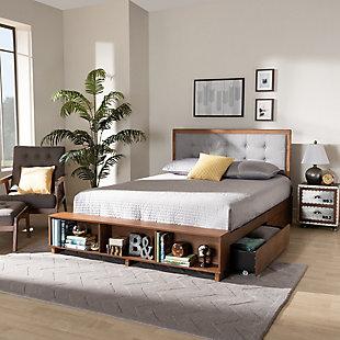 Baxton Studio Cosma Modern Transitional Ash Walnut Brown Finished Wood 4-Drawer Full Size Platform Storage Bed, , large