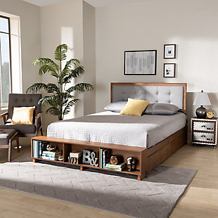 Baxton Studio Cosma Modern Transitional Ash Walnut Brown Finished Wood 4-Drawer Full Size Platform Storage Bed, , rollover