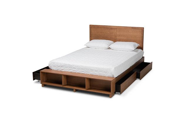 Baxton Studio Tamsin Transitional Ash Walnut Wood Full Size 4-Drawer Platform Storage Bed with Built-In Shelves, , large