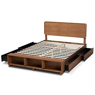 Baxton Studio Vita Transitional Ash Walnut Finished Wood 4-Drawer Full Size Platform Storage Bed, , large