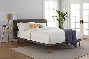 Janet  Queen Mid Century Bed, Gray, rollover