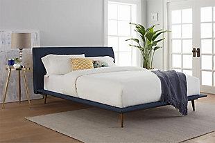 Janet  Queen Mid Century Bed, Blue, rollover