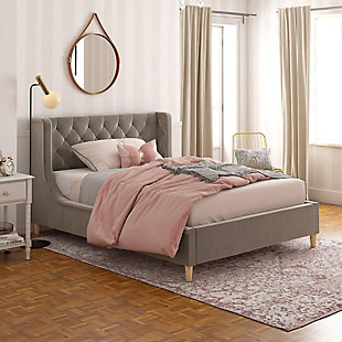 Little Seeds Monarch Hill Ambrosia Gray Full Upholstered Bed, Gray, rollover