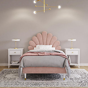 Little Seeds Monarch Hill Upholstered Twin Poppy Bed, Pink, Pink, rollover