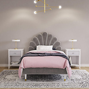 Little Seeds Monarch Hill Upholstered Twin Poppy Bed, Gray, Gray, rollover
