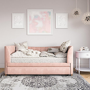 Little Seeds Valentina Upholstered Twin Daybed with Trundle, Pink Velvet, Pink, rollover
