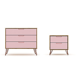 Modern  Dresser and Nightstand, Pink, large