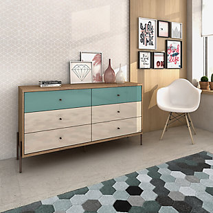 Joy Six Drawer Dresser, Blue, rollover