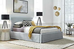 Modus Furniture Shelby Full Upholstered Skirted Storage Panel Bed, , rollover