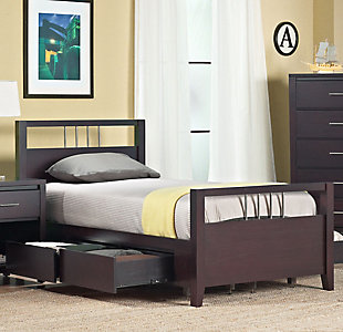 Modus Furniture Nevis Twin Platform Storage Bed, Espresso, rollover
