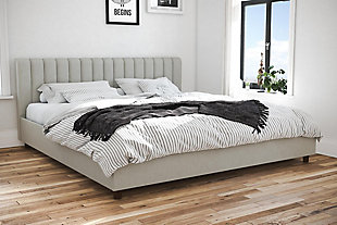 Brittany  King Upholstered Bed, Light Gray, rollover