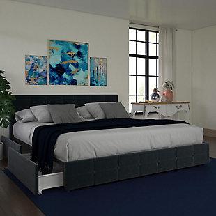 Ryder King Upholstered Bed with Storage, Blue, rollover