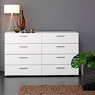 Austin  8 Drawer Double Dresser, White, rollover