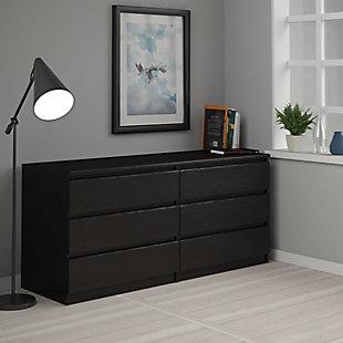 Scottsdale  6 Drawer Double Dresser, Black, rollover