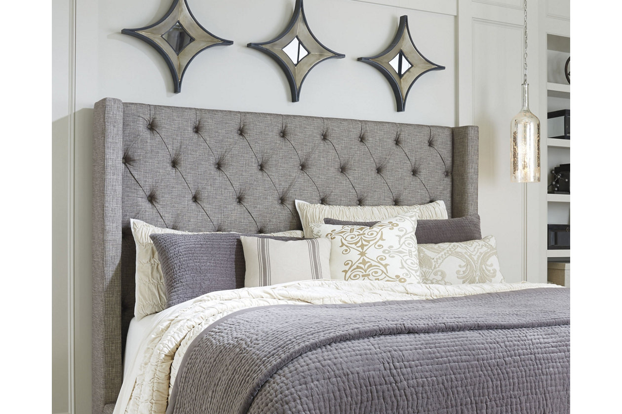 ashley upholstered headboard king pin coralayne cal furniture silver