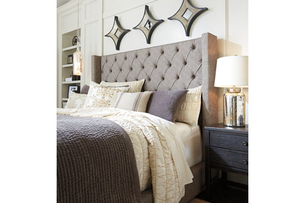 Sorinella King/California King Upholstered Headboard, Gray, large