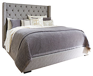 Sorinella Queen Upholstered Bed with 1 Large Storage Drawer, Gray, large
