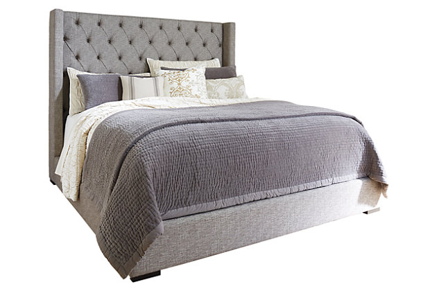 gray sorinella queen upholstered bed view 1 bedroom furniture on a white background - Queen Upholstered Bed Frame