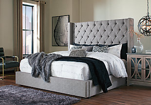 Sorinella Queen Upholstered Bed with 1 Large Storage Drawer, Gray, rollover