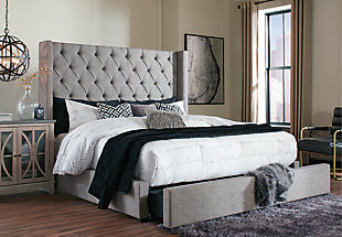 Sorinella Queen Upholstered Headboard, Gray, large