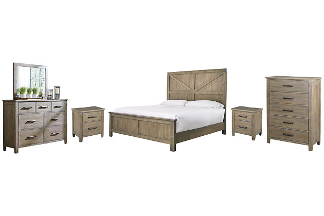 Aldwin Queen Panel Bed with Mirrored Dresser, Chest and 2 Nightstands, Gray, large