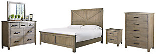 Aldwin Queen Panel Bed with Mirrored Dresser, Chest and Nightstand, Gray, large
