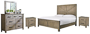Aldwin Queen Panel Bed with Mirrored Dresser and 2 Nightstands, Gray, large