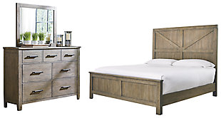 Aldwin Queen Panel Bed with Mirrored Dresser, Gray, large