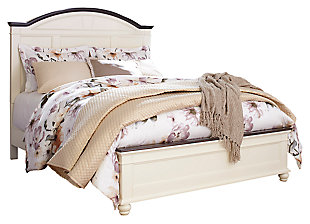 Woodanville Queen Panel Bed, White/Brown, large