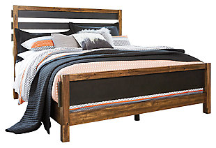 Harlynx Queen Panel Bed, Brown/Gray, large