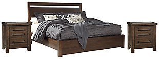 Starmore Queen Panel Bed with 2 Nightstands, Brown, large