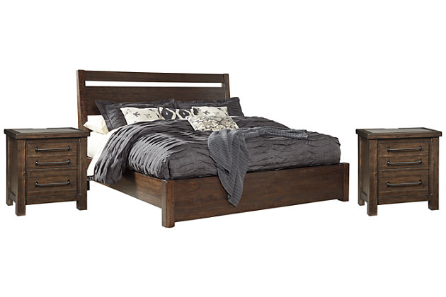 Starmore King Panel Bed with 2 Nightstands, Brown, large